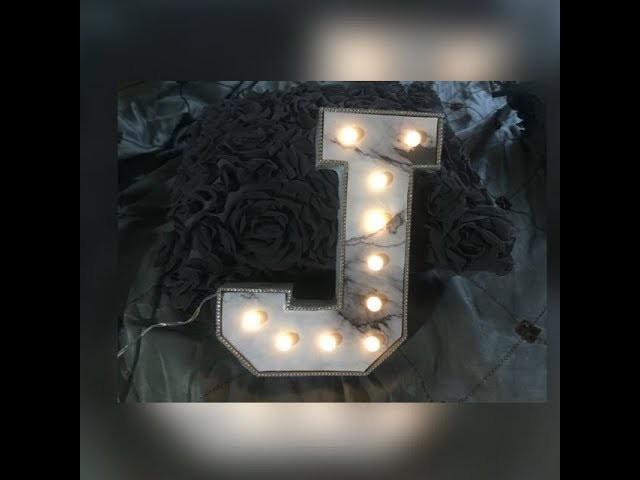 DIY letra con luces estilo mármol