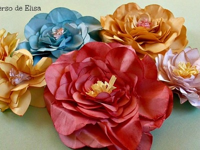 Flores de Hojas de Papel, Cómo Hacer Flores De Papel, Paper Flowers Diy