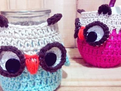 Funda de frasco a crochet o Funda para Mate tejido a crochet Buho.Lechuza