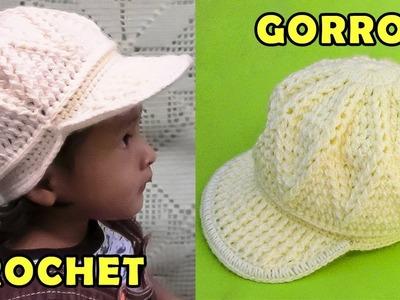 Gorra tejido a crochet para niños de 1 a 3 años, fácil de hacer