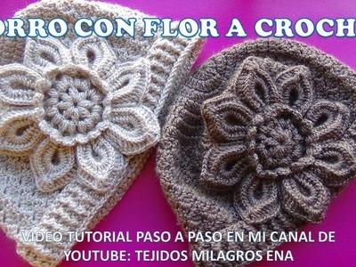 Gorro con Flor a crochet paso a paso en punto escalera - VIDEO TUTORIAL PARA DIFERENTES EDADES