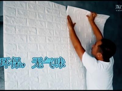 Painel de tijolos auto adesivo 3D  Fácil parede de tijolo DIY