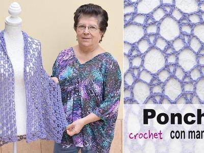 Poncho con mangas en tejido recto a crochet - Tejiendo Perú