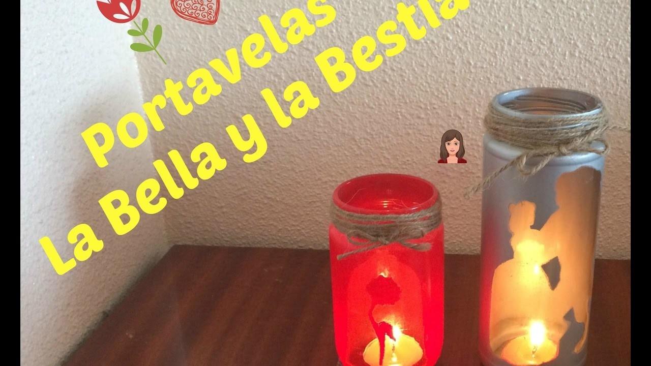 Portavelas personalizable - La Bella y La Bestia (DIY) | El Mimimundo