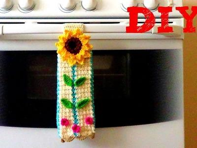 Secador de Manos con Girasol !!! Tejido a Crochet -Adorno Para Tu Cocina!!