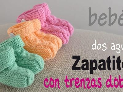 Zapatos con trenza doble tejidos en dos agujas para bebés - Tejiendo Perú