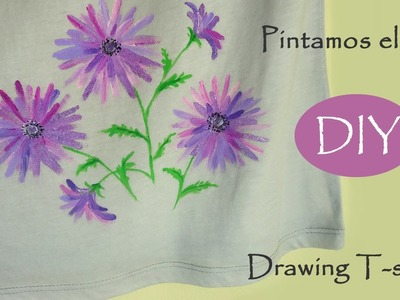 ????DIY Drawing flowers on T-shirt, new idea. Pintamos el polo, todos lo lograrán.