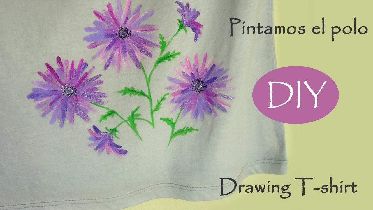 ????DIY Drawing flowers on T-shirt, new idea. Pintamos el polo, todos lo lograrán.