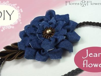 ????DIY Headband with a jeans flower. Vincha con la flor de jeans que siempre será de moda.