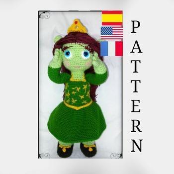 patron amigurumi princesa fiona (shrek) pdf español